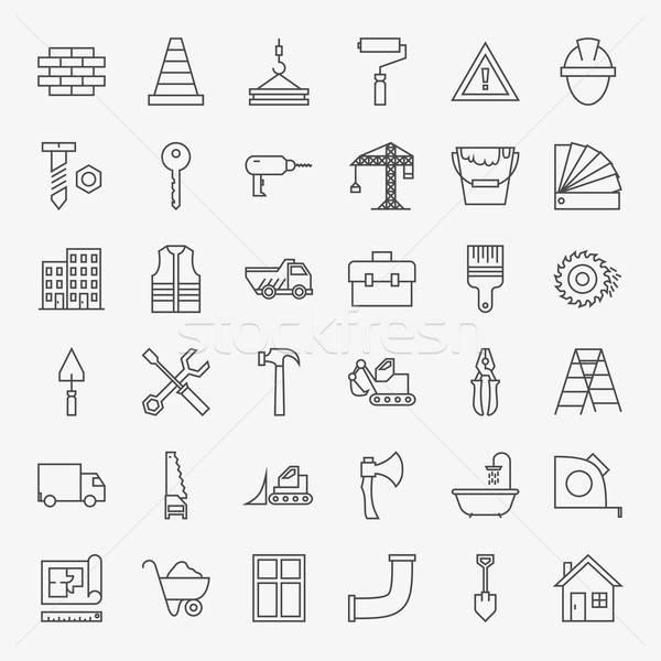 Zdjęcia stock: Budynku · budowy · line · sztuki · projektu · ikona