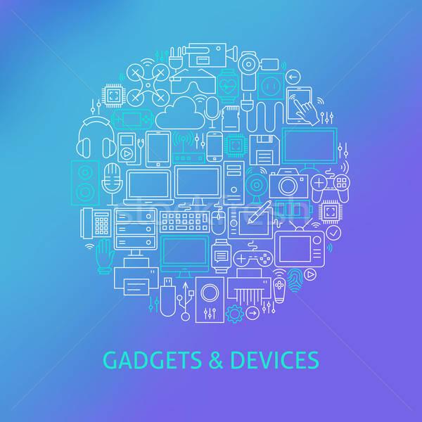 Dun lijn elektronica gadgets cirkel Stockfoto © Anna_leni