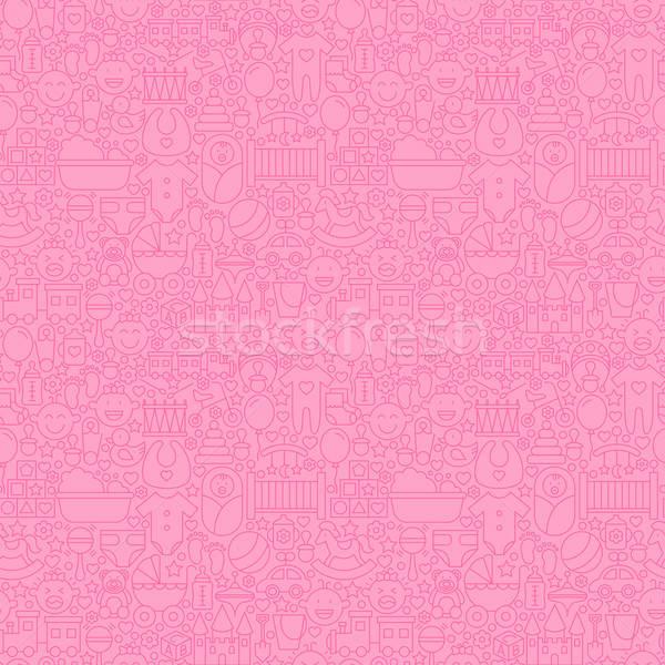 Stock photo: Thin Line Pink Baby Girl Seamless Pattern
