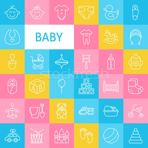 Vector Line Art Baby and Newborn Toys Icons Set Stock photo © Anna_leni