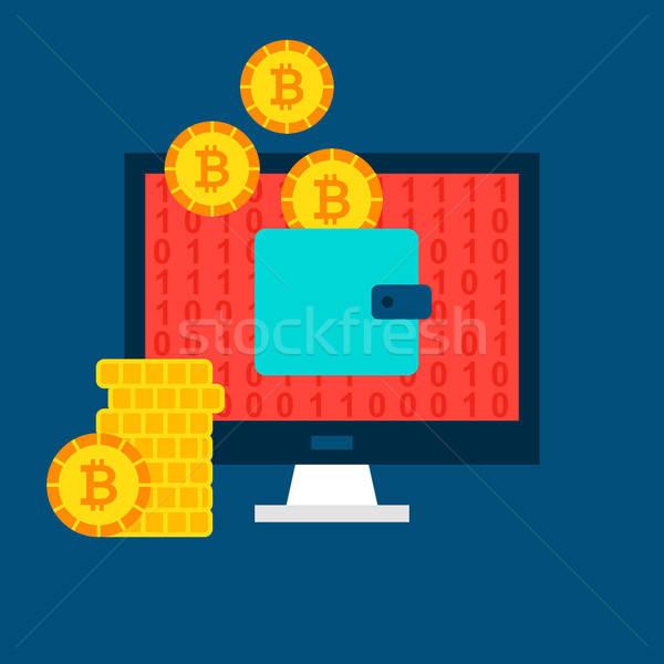 Bitcoin számítógép pénztárca pénzügyi technológia üzlet Stock fotó © Anna_leni