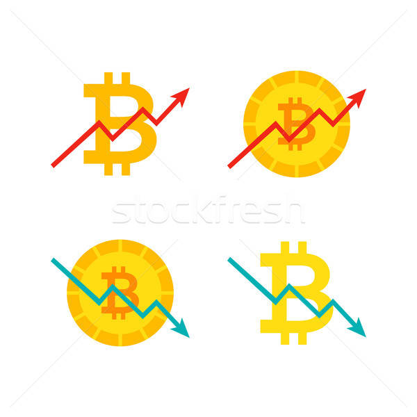 Bitcoin omhoog beneden grafiek financiële diagram Stockfoto © Anna_leni