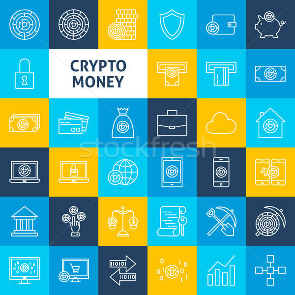 Stock photo: Vector Cryptocurrency Line Icons