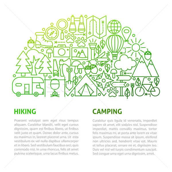 Camping caminhadas linha modelo projeto Foto stock © Anna_leni