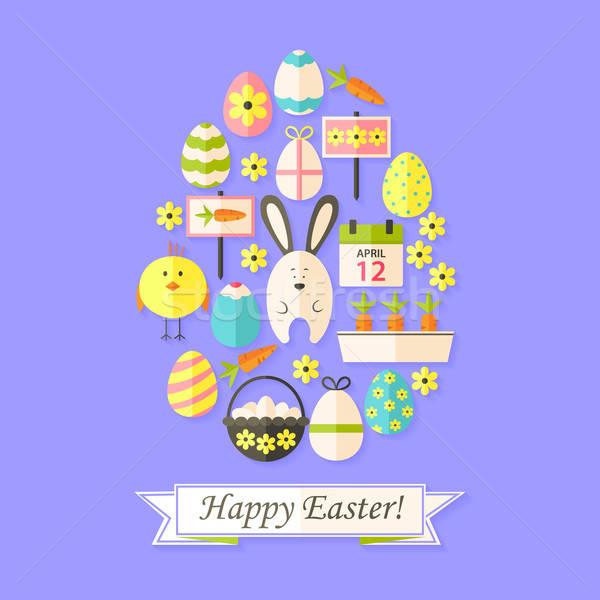 Stock fotó: Húsvét · ünnep · kártya · ikon · szett · tojás · alakú
