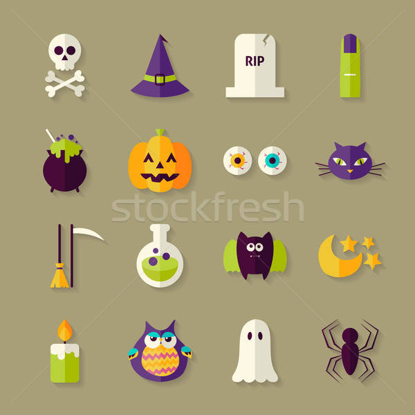 Flat Magic Halloween Witch Objects Set with Shadow Stock photo © Anna_leni