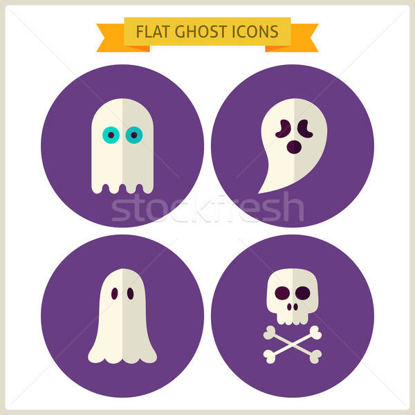 Flat Spirit Ghost Website Icons Set Stock photo © Anna_leni