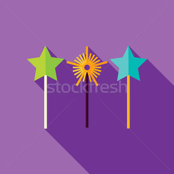 Vector Flat Design Magic Sticks Icon Stock photo © Anna_leni