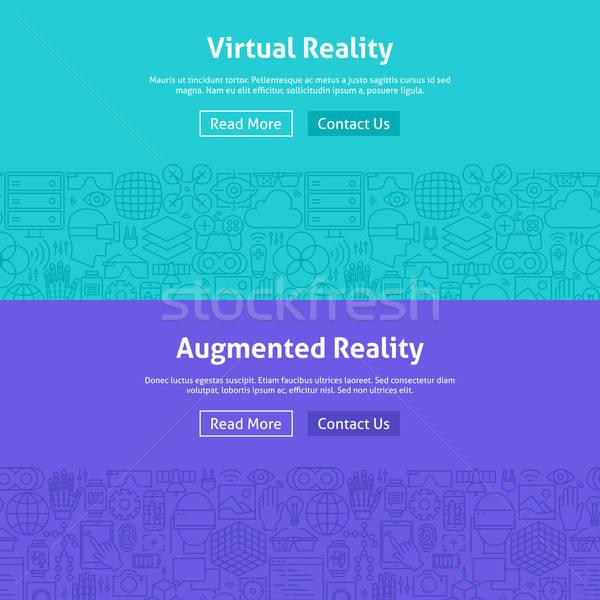 Virtual Reality Line Art Web Banners Set Stock photo © Anna_leni