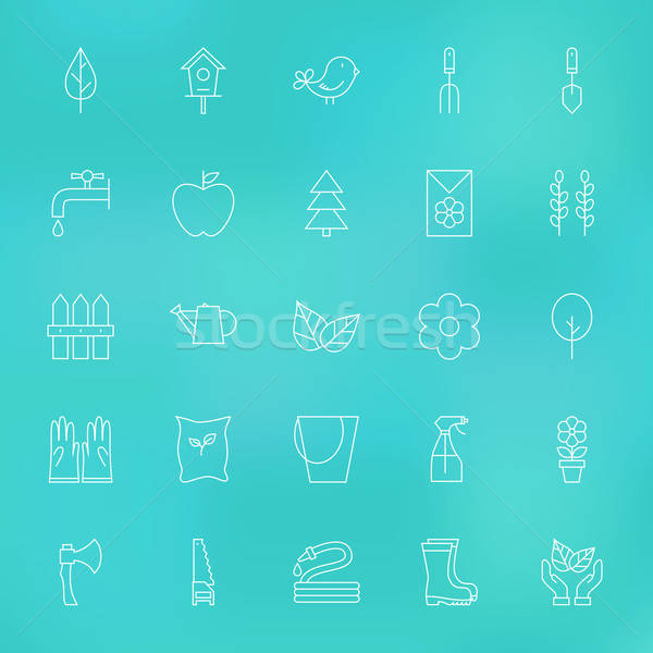 Stock photo: Garden Spring Line Icons Set over Blurred Background