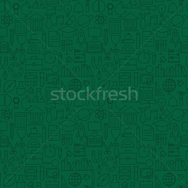 Stock photo: Thin Line School Education Green Seamless Pattern