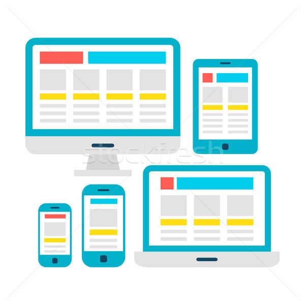 Duyarlı web tasarım beyaz dizüstü bilgisayar masaüstü Stok fotoğraf © Anna_leni