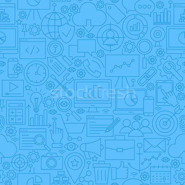 SEO Blue Line Seamless Pattern Stock photo © Anna_leni
