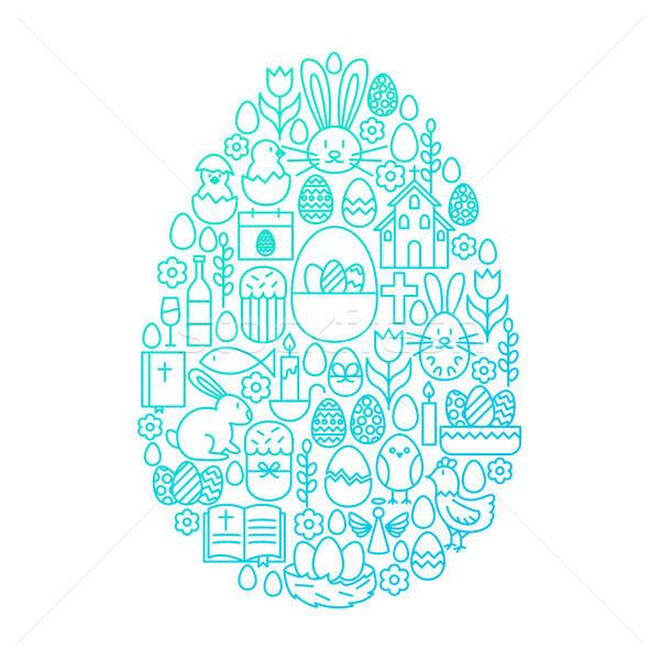 Stock fotó: Húsvét · vonal · ikon · tojás · terv · tavasz