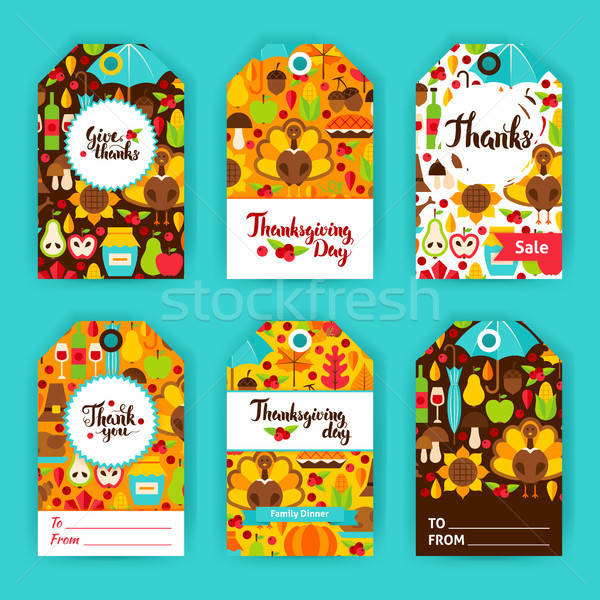 Stock photo: Thanksgiving Day Gift Labels