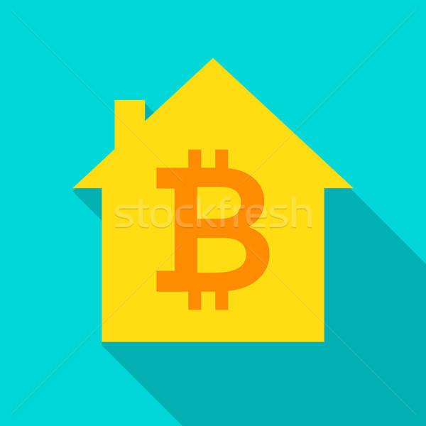 Bitcoin ház ikon hosszú árnyék üzlet Stock fotó © Anna_leni