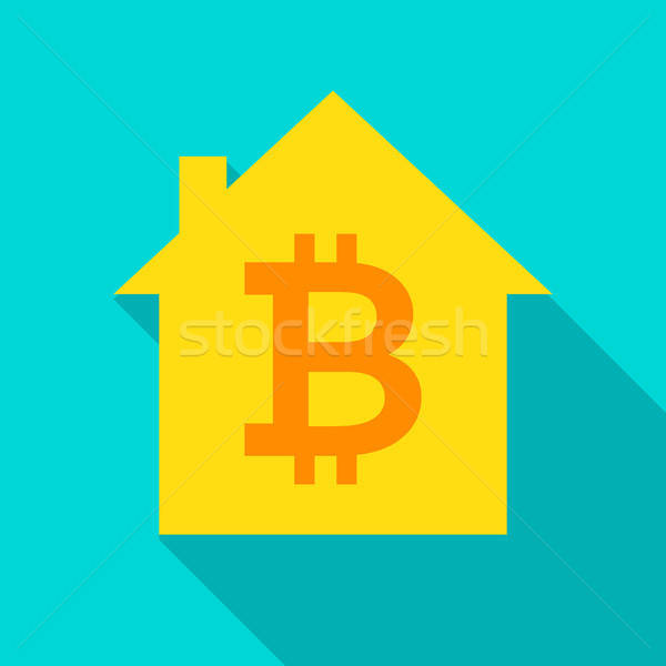 Bitcoin House Flat Icon Stock photo © Anna_leni