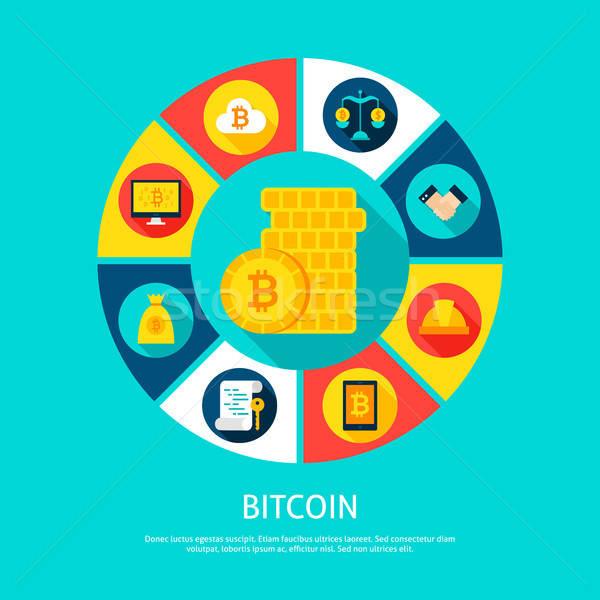 Bitcoin argent financière infographie cercle icônes Photo stock © Anna_leni