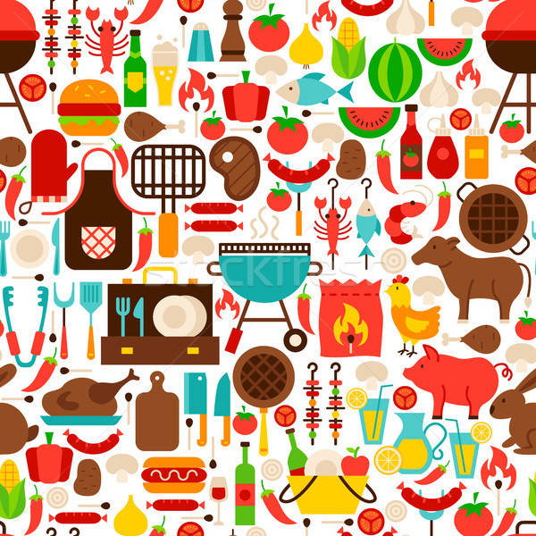 Barbecue végtelen minta BBQ buli textúra terv Stock fotó © Anna_leni