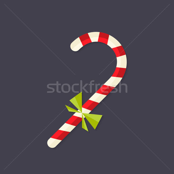Candy Christmas Stick with Bow Flat Icon Stock photo © Anna_leni