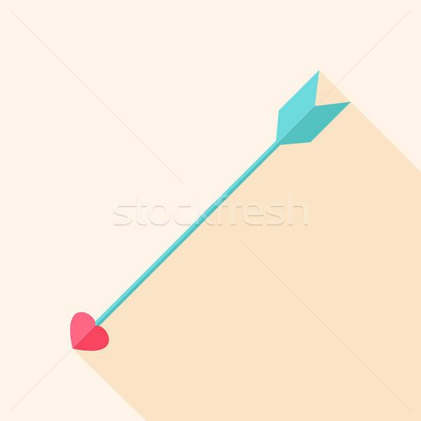 Foto stock: Seta · coração · estilizado · objeto · longo · sombra
