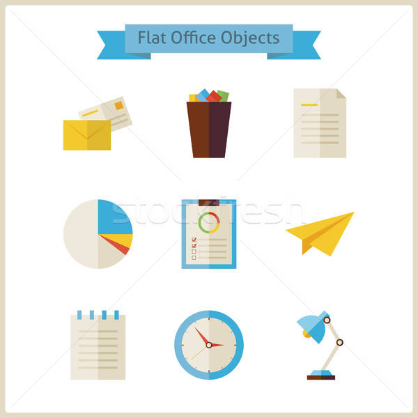 Flat Business and Office Objects Set Stock photo © Anna_leni
