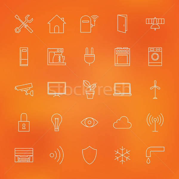 Stock photo: Smart Home Technology Line Icons Set over Blurred Background