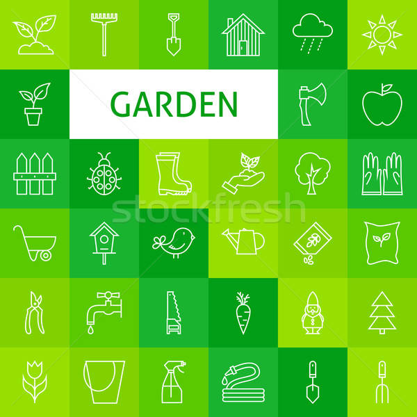 Vector Line Art Garden and Flowers Icons Set Stock photo © Anna_leni