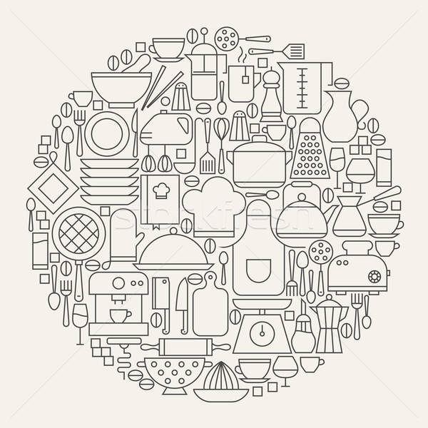 Stock photo: Kitchen Utensils and Cooking Line Icons Set Circle Shape
