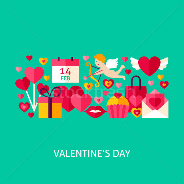 Photo stock: Saint · valentin · accueil · affiche · design · amour · vacances