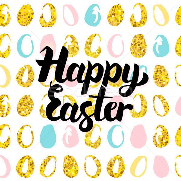 Kellemes húsvétot kézzel írott kártya tavasz üdvözlet képeslap Stock fotó © Anna_leni