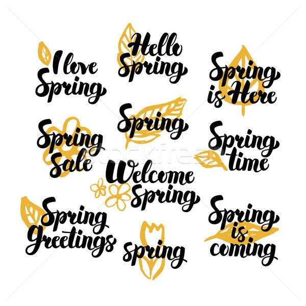 Olá primavera citações natureza Foto stock © Anna_leni