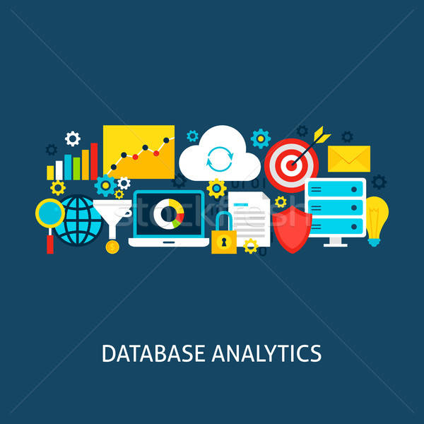 Database Analytics Vector Flat Concept Stock photo © Anna_leni