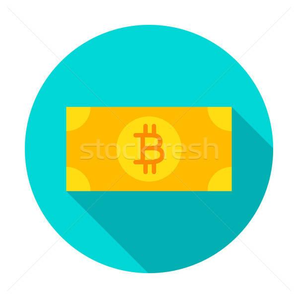 Bitcoin банкнота круга икона стиль долго Сток-фото © Anna_leni