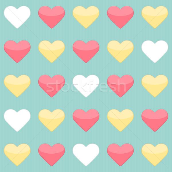 Amarelo vermelho branco corações de Foto stock © Anna_leni