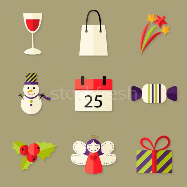 9 Christmas Icons Set 5 Stock photo © Anna_leni