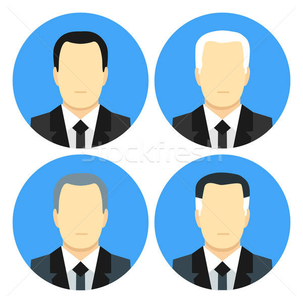 Flat style business men with four haircuts Stock photo © Anna_leni
