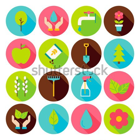 Flat Style Vector Collection of Nature Gardening and Environment Stock photo © Anna_leni