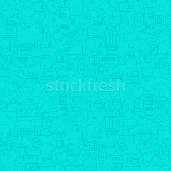 Thin Line Web E-Commerce Shopping Mint Seamless Pattern Stock photo © Anna_leni