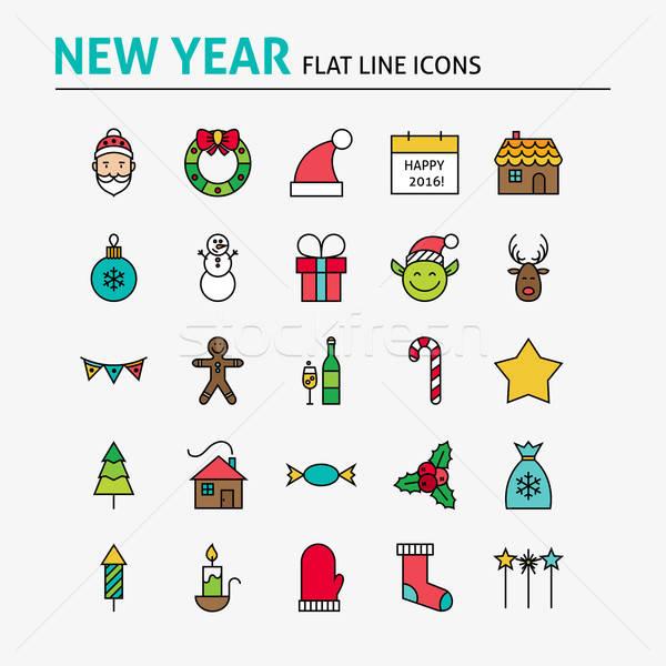 Happy New Year Colorful Flat Line Icons Set Stock photo © Anna_leni