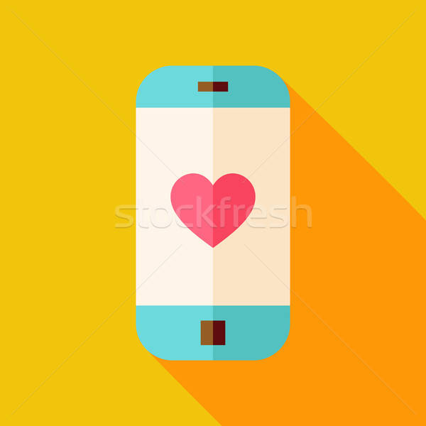 Vector Flat Design Smartphone with Love Heart Sign Icon Stock photo © Anna_leni