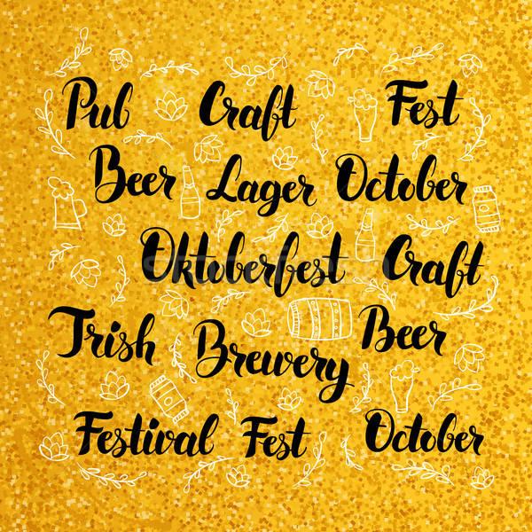 Oktoberfest ouro projeto cervejaria caligrafia conceitos Foto stock © Anna_leni