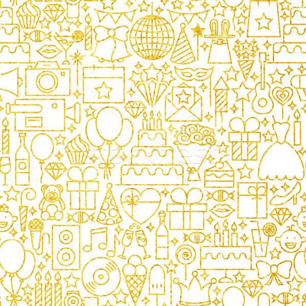 Line Gold White Party Tile Pattern Stock photo © Anna_leni