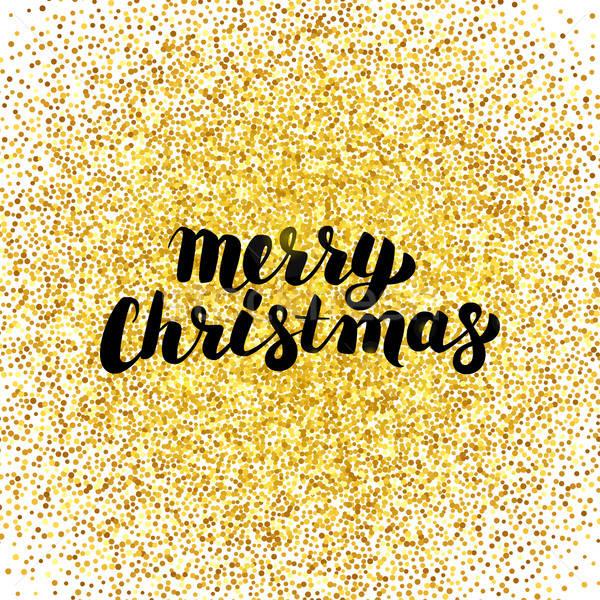 Merry Christmas Gold Greeting Card Stock photo © Anna_leni