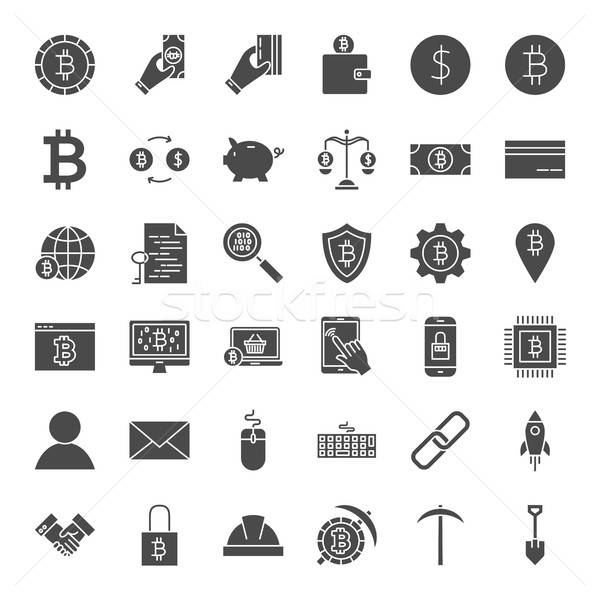 Cryptocurrency Solid Web Icons Stock photo © Anna_leni