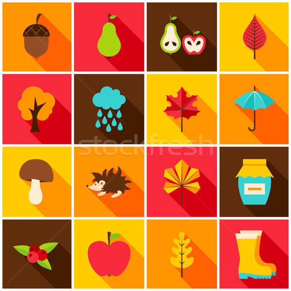 Stock photo: Autumn Colorful Icons