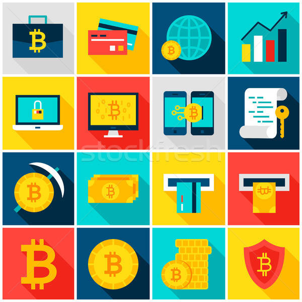 Bitcoin Currency Colorful Icons Stock photo © Anna_leni