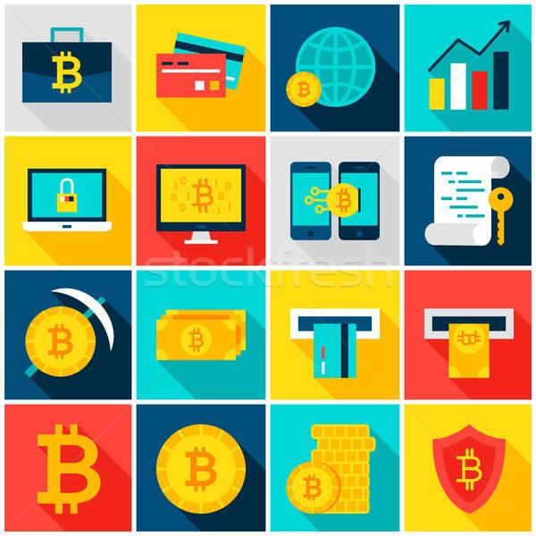 Bitcoin monnaie coloré icônes rectangle Photo stock © Anna_leni
