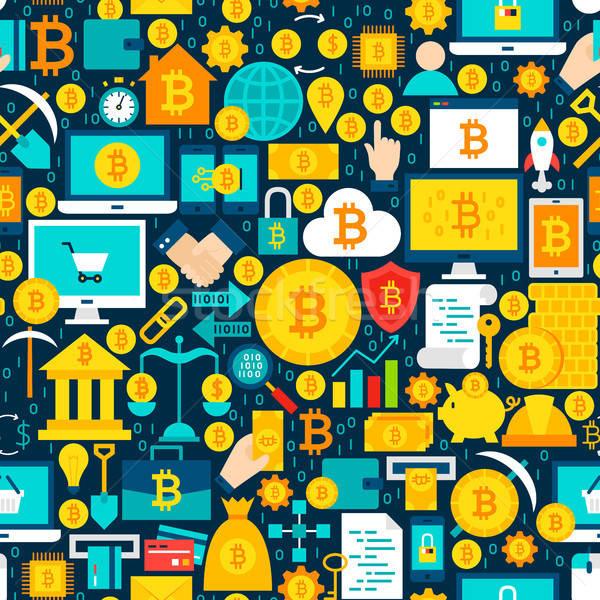Photo stock: Bitcoin · carrelage · modèle · financière · affaires