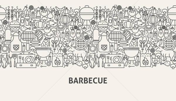 Barbecue szalag vonal web design buli háttér Stock fotó © Anna_leni